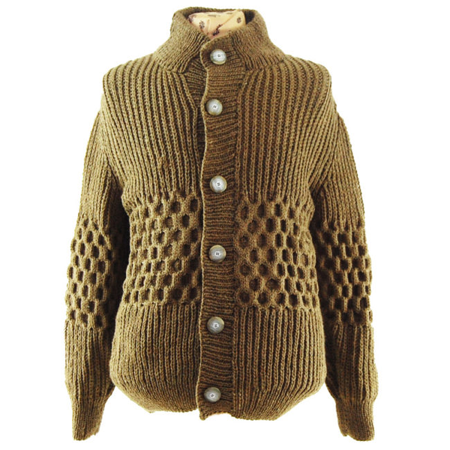 Brown Vintage Cable knit Cardigan