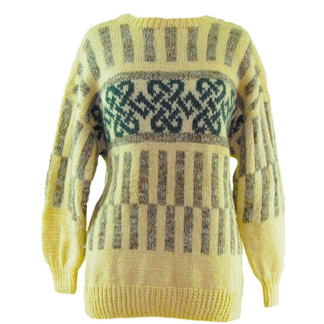 Cream And Grey Icelandic Wool Sweater