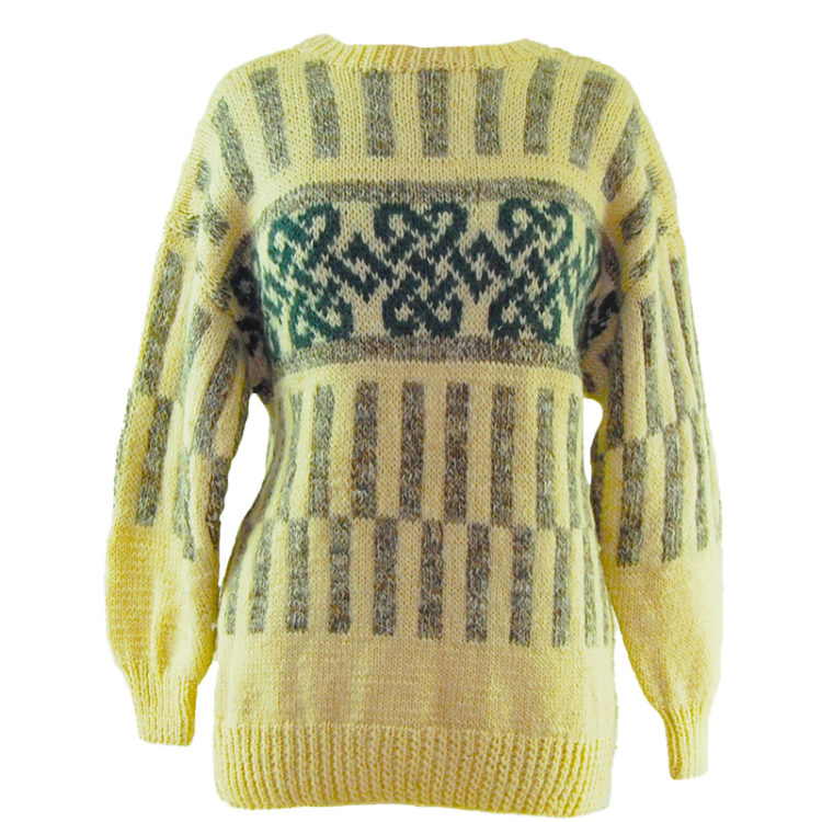 Cream And Grey Icelandic Wool Sweater