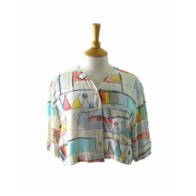 90s Multicolored Printed Cropped V Neck Top