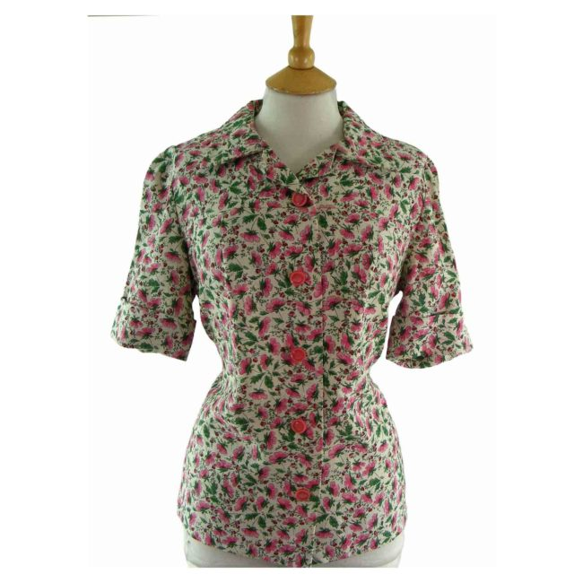 70s Pink Floral Short Sleeve Blouse