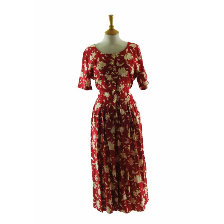 90s Red Floral Dress