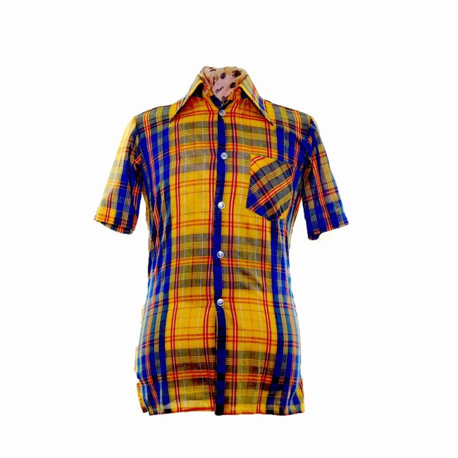 70s Yellow Contrast Checked Short Sleeve Shirt