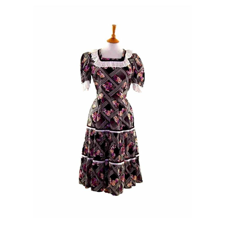 50s Black Floral Patterned Frilly Dress