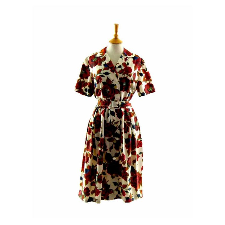 50s Rose Patterned Belted Dress