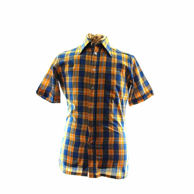 70s Yellow Blue Checked Short Sleeve Shirt