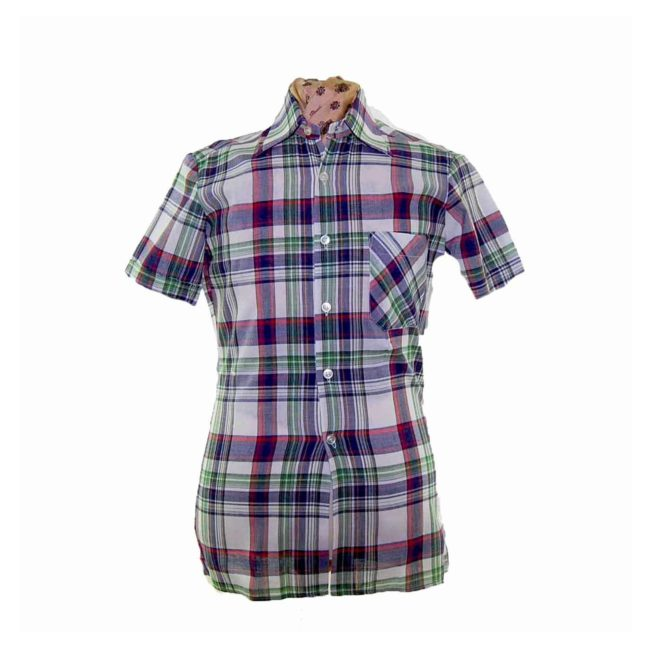 70s Dark Multicolored Checked Short Sleeve Shirt