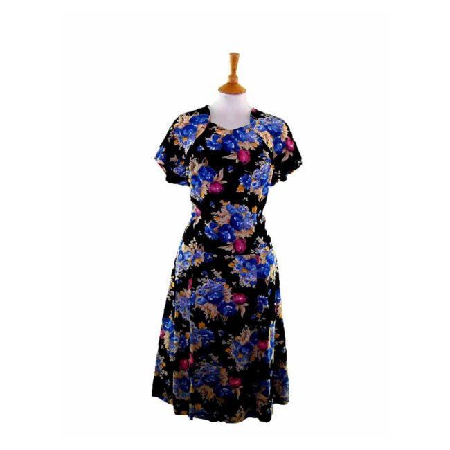 50s Black Floral A line Dress