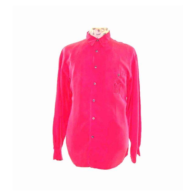 90s Bright Red Long Sleeve Silk Shirt