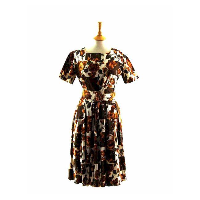 50s Golden Floral Patterned Belted Dress