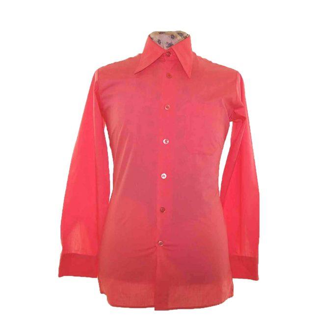 70s Coral Pink Long Sleeve Shirt