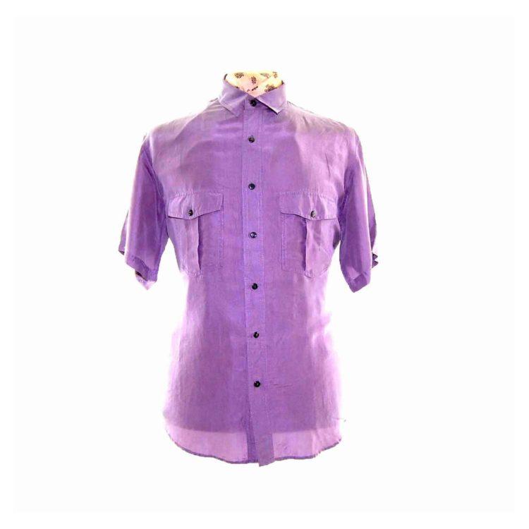 90s Violet Short Sleeve Silk Shirt