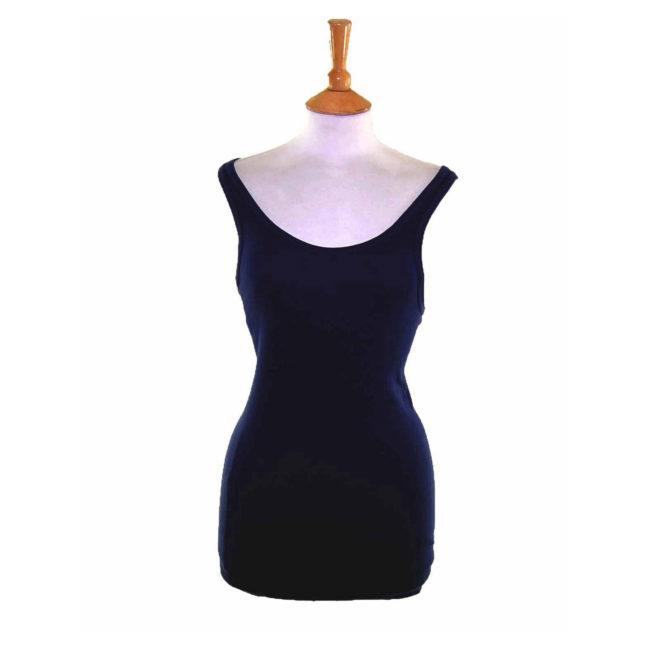 Womens Navy Cotton Vest Top