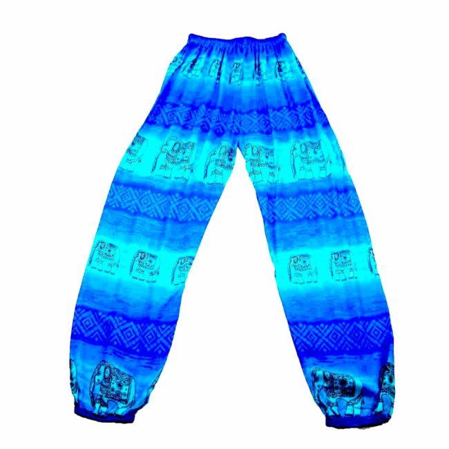 90s Blue Boho Elephant Harem Pants