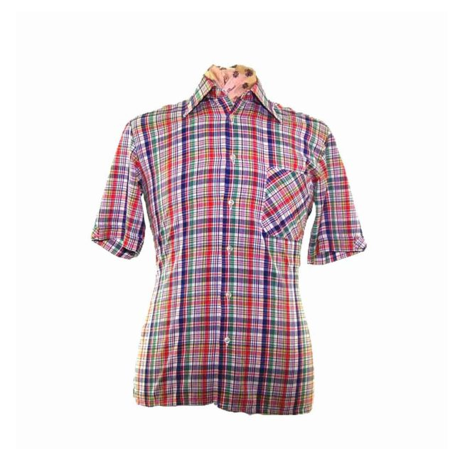70s Bright Multicolored Plaid Short Sleeve Shirt