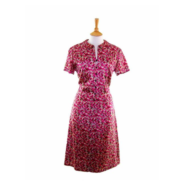 60s Pink Spotted Print Dress