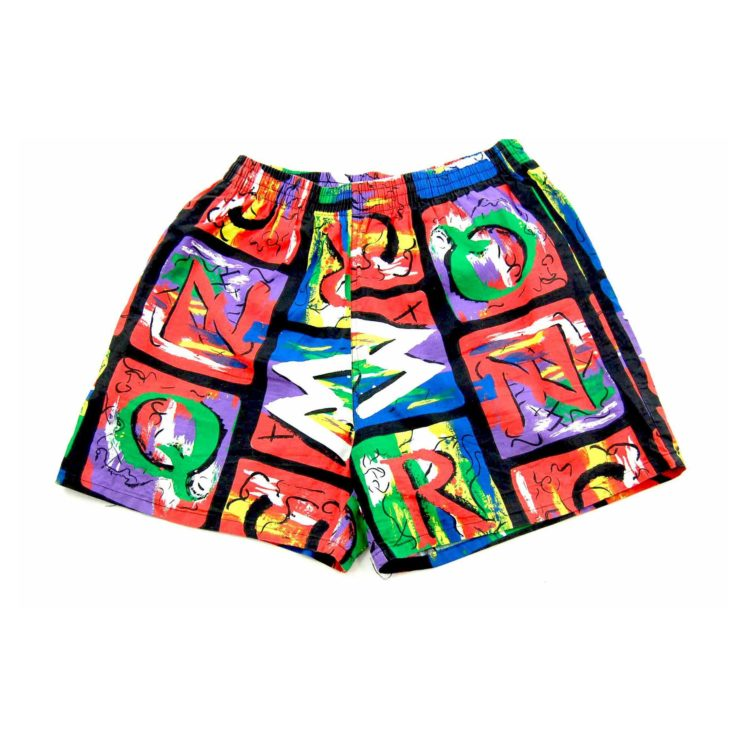 90s Bright Alphabet Print Beach Shorts