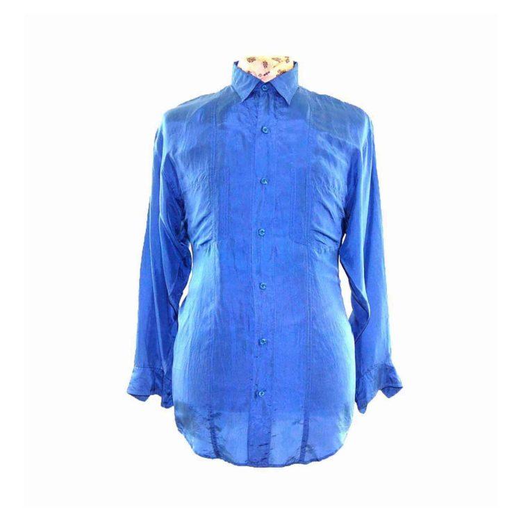 90s Dark Blue Silk Shirt