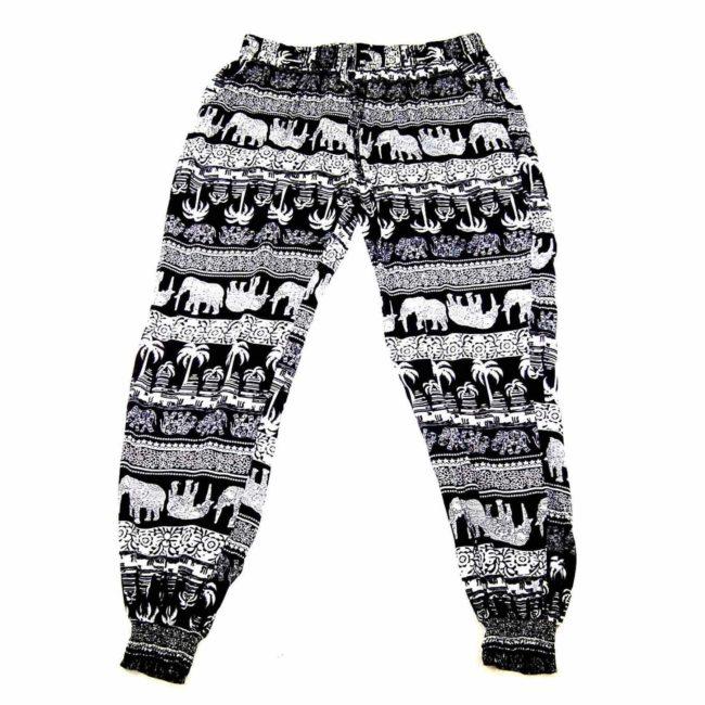 90s Thai Elephant Black Harem Pants