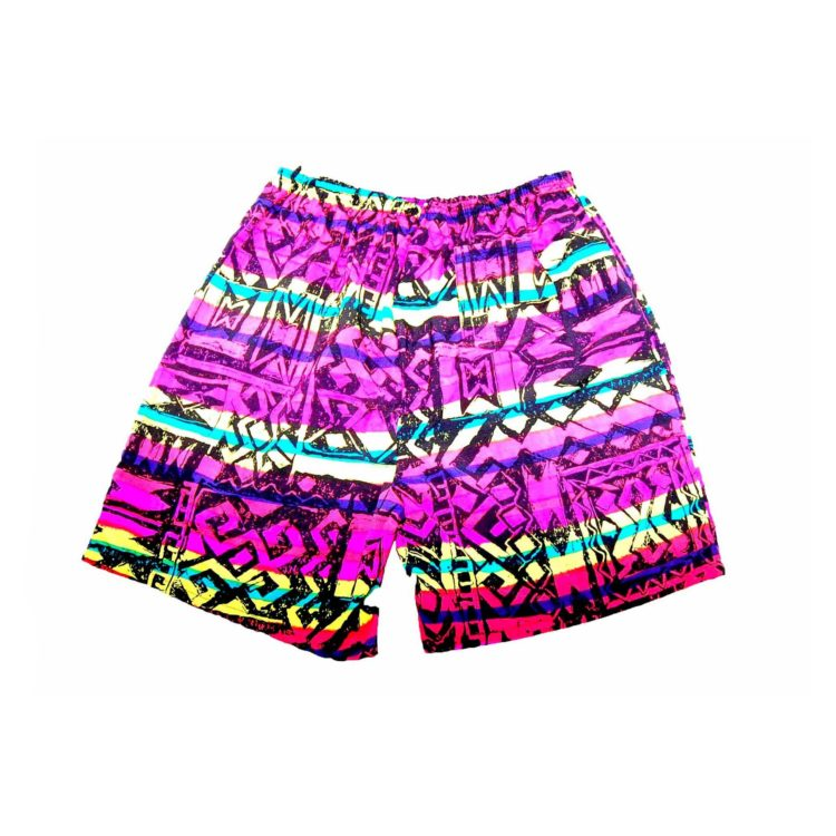 90s Neon Black Print Beach Shorts