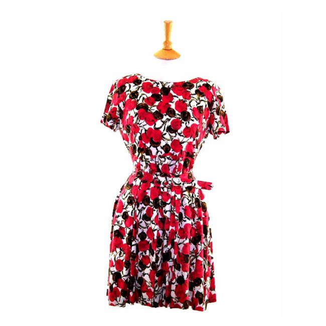 50s Pink Floral Patterned Belted Dress