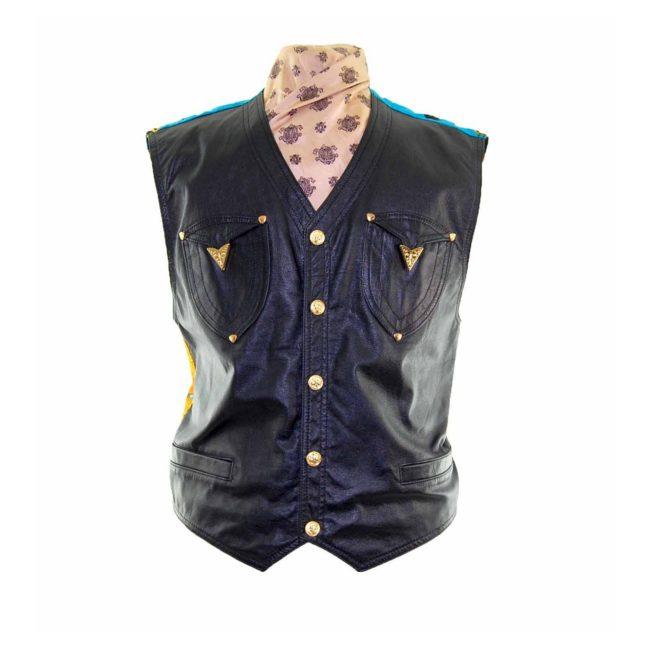 Black Leather Miami Patterned Waistcoat