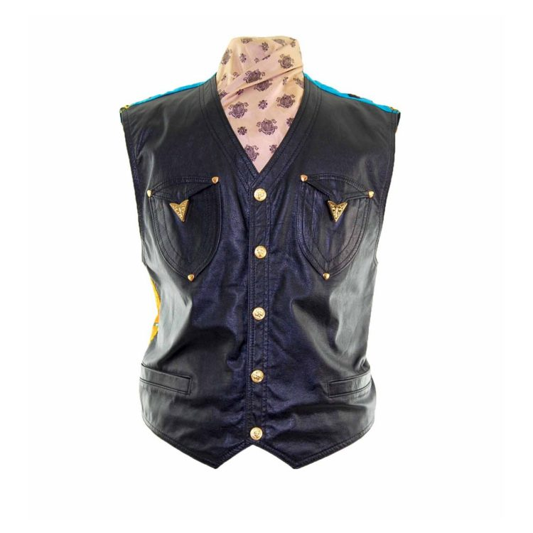 Black Leather Miami Patterned Waistcoat
