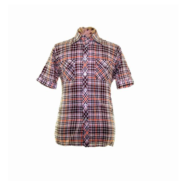 70s Orange Brown Plaid Short Sleeve Shirt