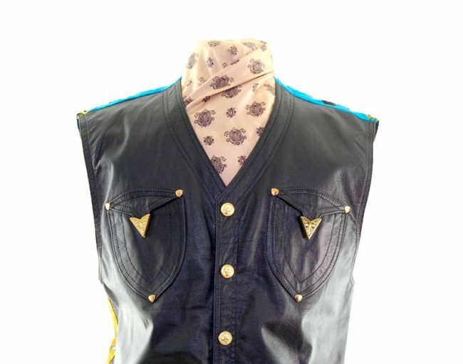 Front close up of Black Leather Miami Patterned Waistcoat