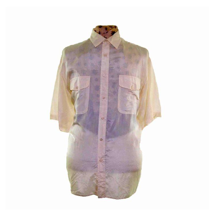 90s Light Yellow Short Sleeve Silk Shirt