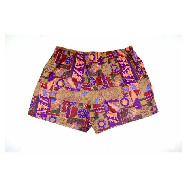 90s Khaki Printed Beach Shorts