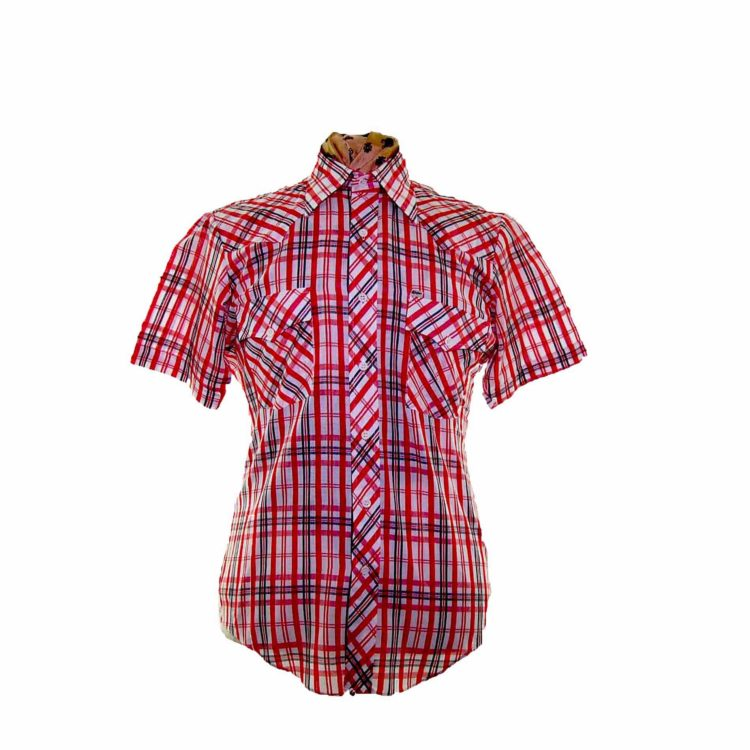 70s Red Checked Short Sleeve Shirt