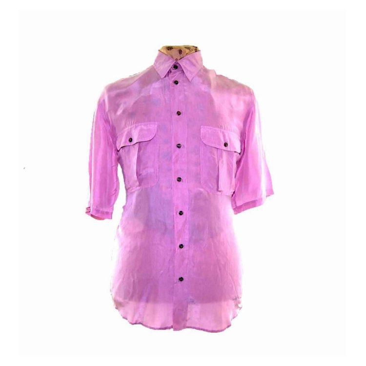 90s Light Pink Short Sleeve Silk Shirt