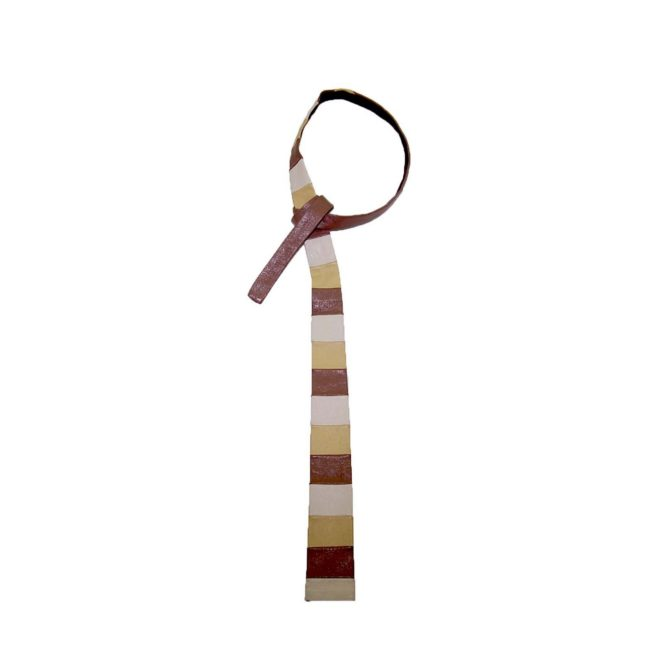 60s Slim Sandy Palette Striped Leather Tie