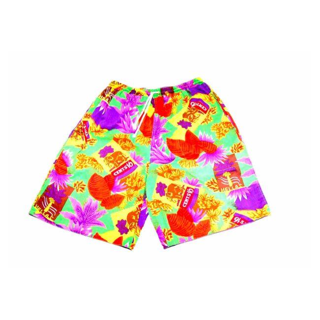 90s Tropical Print Reversible Beach Shorts