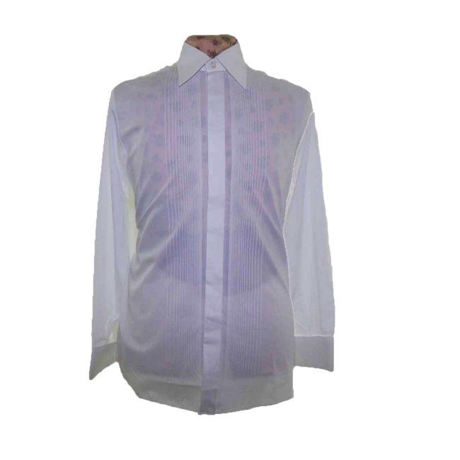70s White Ribbed Long Sleeve Shirt