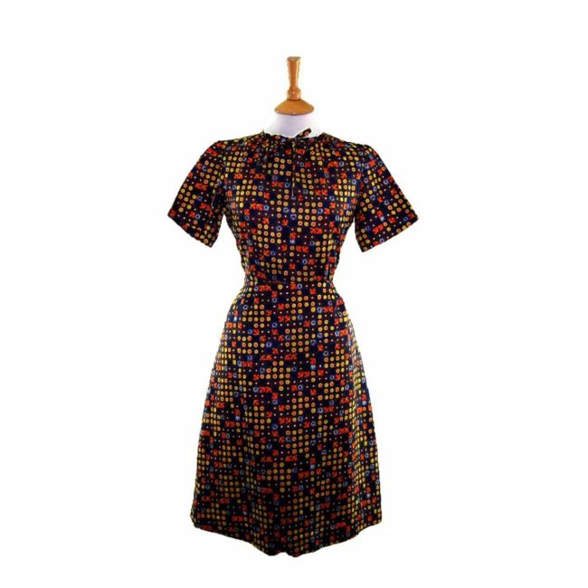 60s Navy Floral Patterned Dress