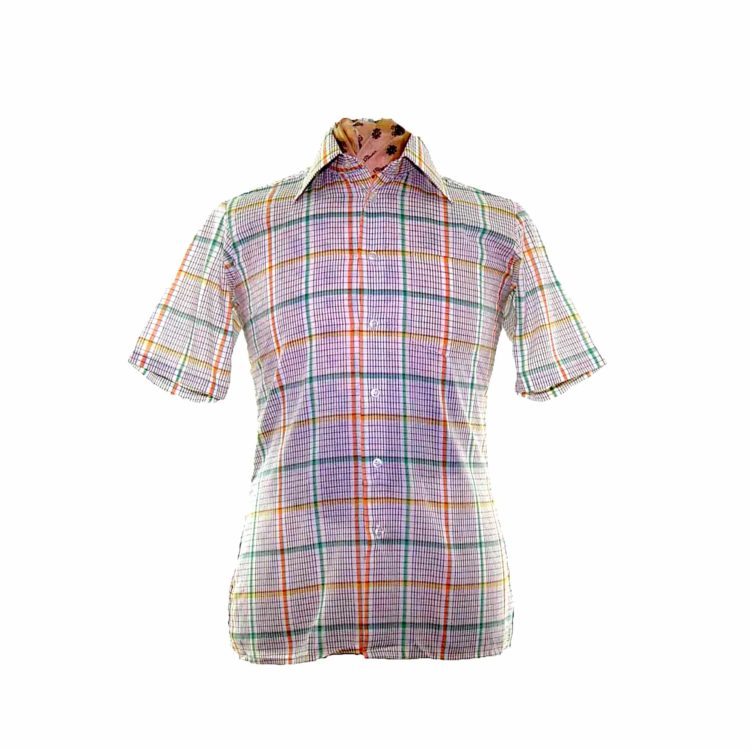 70s White Colorful Checked Short Sleeve Shirt