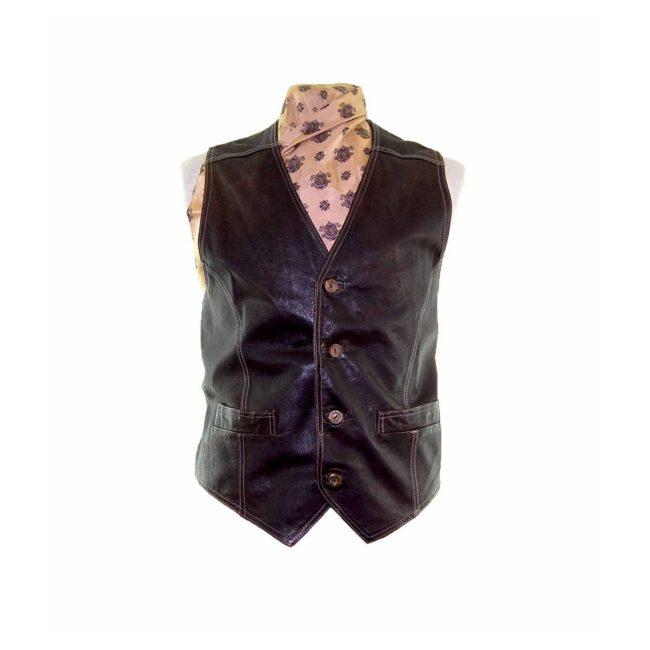 Dark Brown Leather Waistcoat