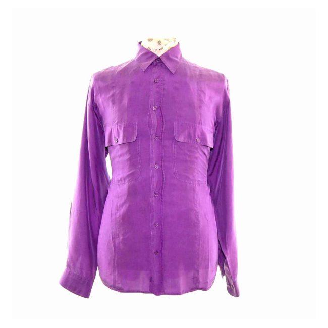 90s Purple Long Sleeve Silk Shirt
