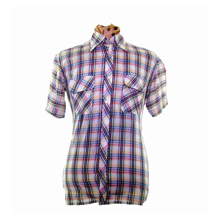 70s Pastel Checked Short Sleeve Shirt