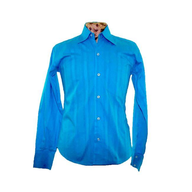 70s Blue Ribbed Long Sleeve Shirt