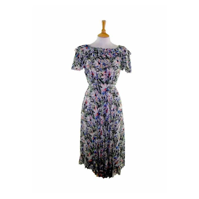 40s Abstract Floral Print Dress