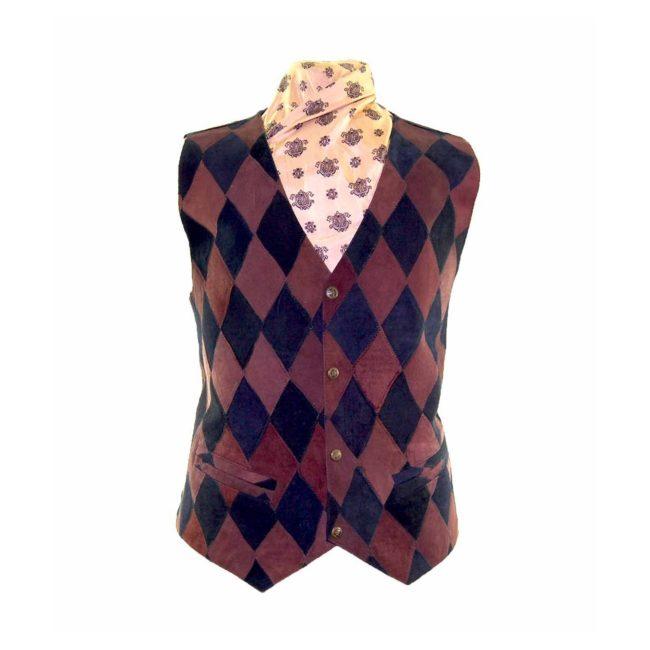 Harlequin Pattern Suede Waistcoat