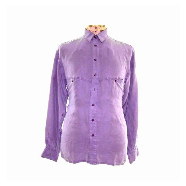 90s Violet Long Sleeve Silk Shirt