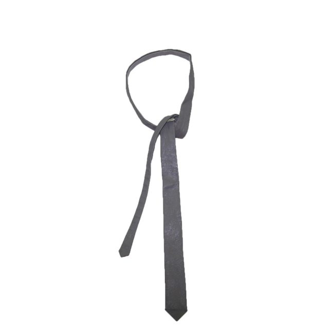 60s Slim Medium Grey Leather Tie