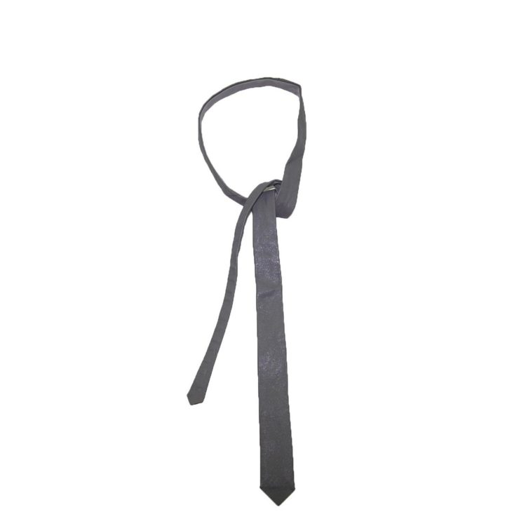 60s Slim Medium Grey Leather Tie