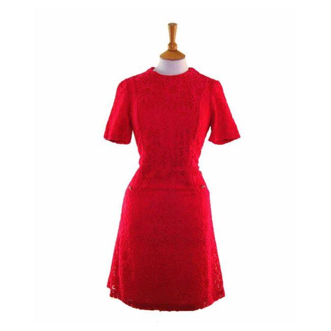60s Pink Floral Lace Aline Dress