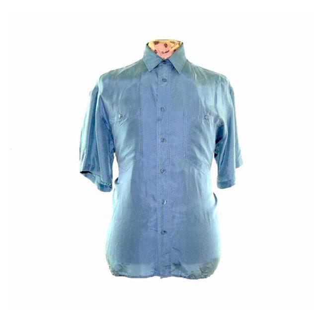90s Jade Green Short Sleeve Silk Shirt