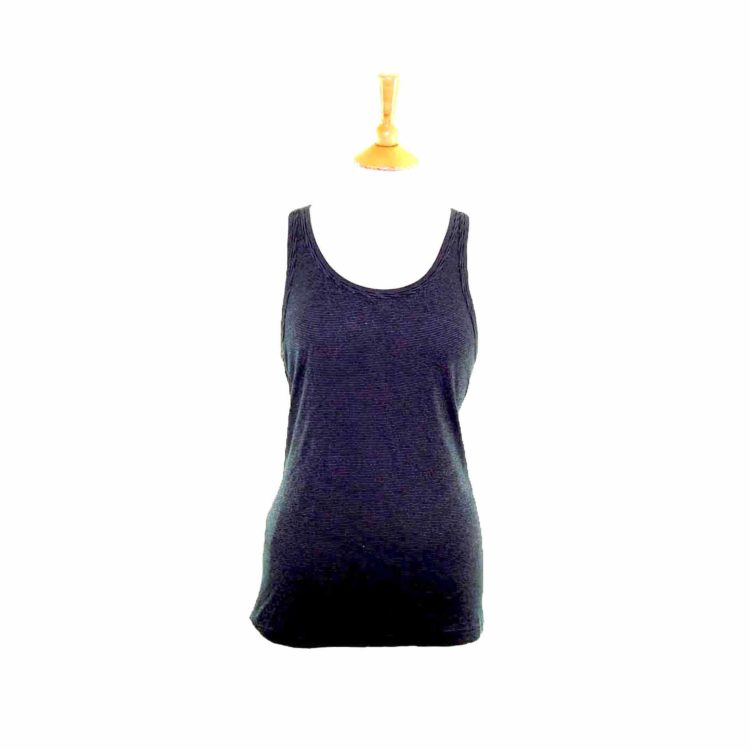 Womens Black Striped Vest Top
